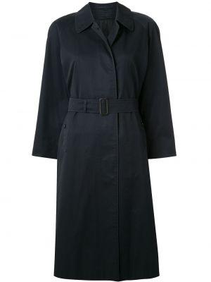 Синее пальто с поясом с воротником с рукавом реглан Burberry Pre-owned