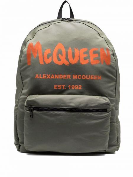 Plecak z printem - zielony Alexander Mcqueen