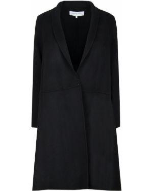 Черное шерстяное пальто классическое с воротником на крючках Gerard Darel