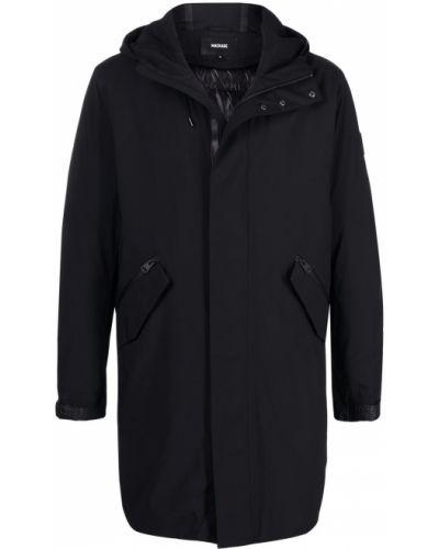 Czarny płaszcz przeciwdeszczowy skórzany z kapturem Mackage