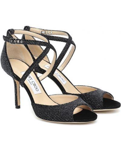Skórzany czarny sandały z brokatem Jimmy Choo