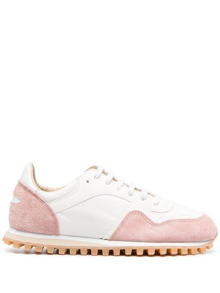 Różowe sneakersy skorzane sznurowane Spalwart