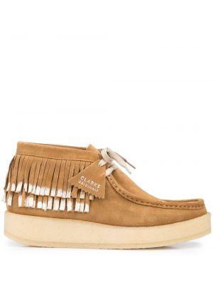 Коричневые туфли на танкетке Clarks Originals