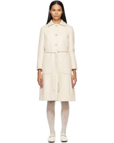 Шерстяное белое длинное пальто с воротником Gucci