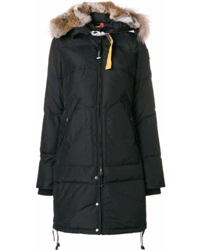 Черное длинное пальто с капюшоном из енота Parajumpers