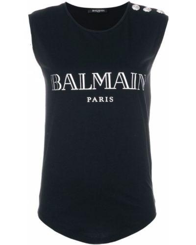 Топ без рукавов с логотипом Balmain