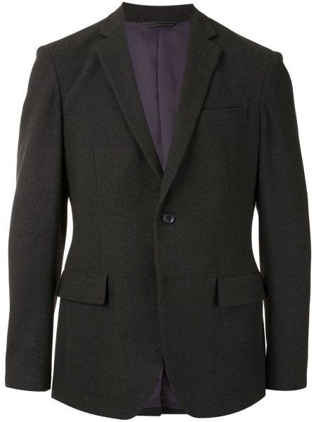 Черный однобортный классический пиджак на пуговицах из вискозы D'urban