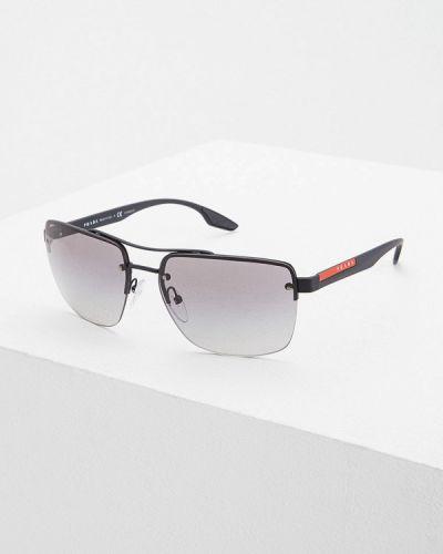 Солнцезащитные очки черные прямоугольные Prada Linea Rossa