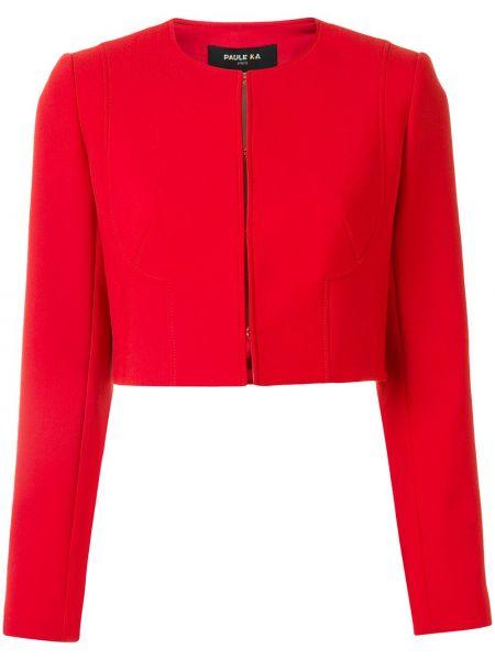 Шерстяная красная длинная куртка для полных Paule Ka