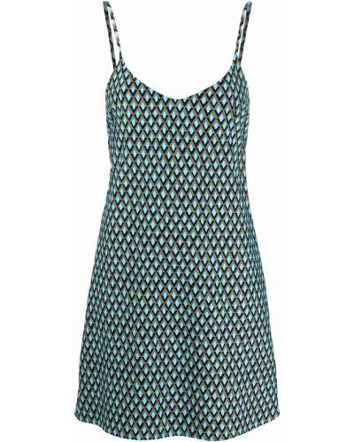 Niebieska sukienka mini z dekoltem w serek z printem Fisico