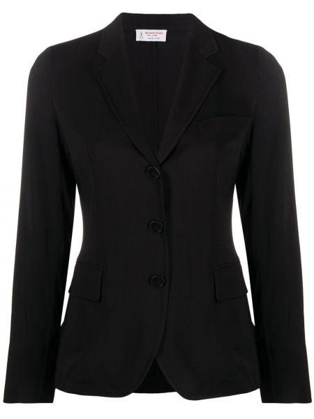 Однобортный черный удлиненный пиджак с карманами Alberto Biani