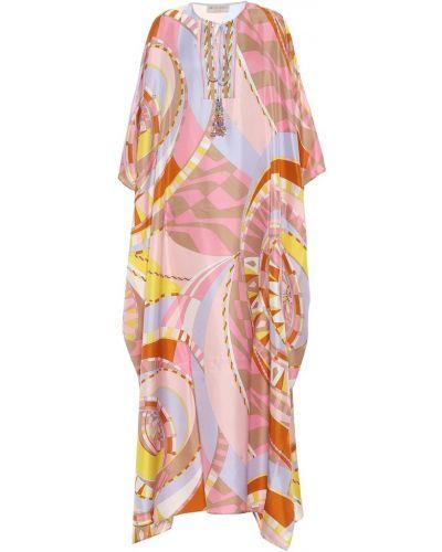 Розовый шелковый кафтан Emilio Pucci