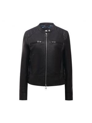 Кожаная куртка на молнии - черная Windsor