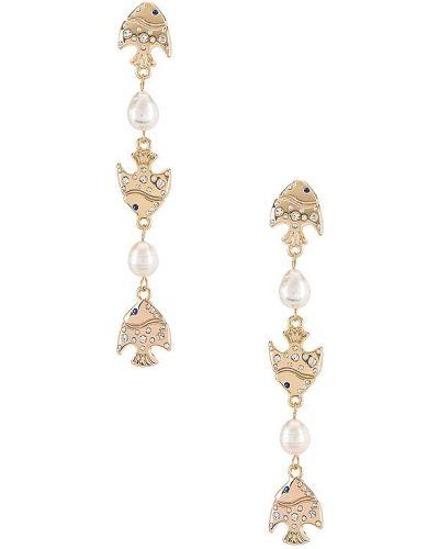 Złote kolczyki sztyfty perły na co dzień Ettika