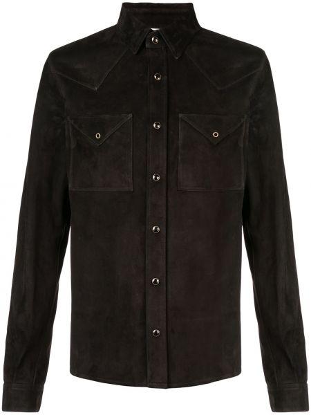 Czarny klasyczna koszula z mankietami z kieszeniami z kołnierzem Saint Laurent