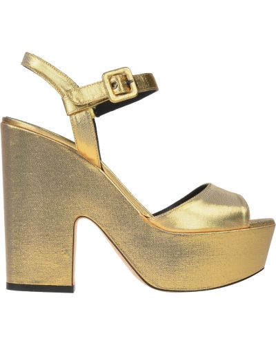 Кожаные босоножки - золотые Le Silla