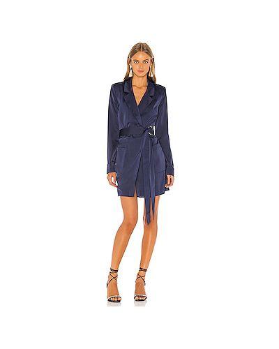Платье с поясом с карманами синее Nbd