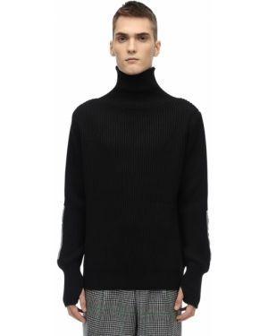Prążkowany czarny sweter wełniany Lc23