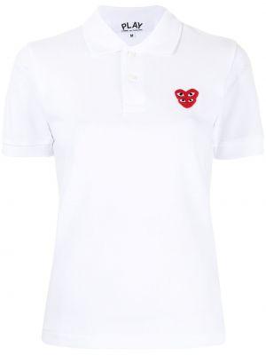 Biała koszula krótki rękaw bawełniana Comme Des Garcons Play