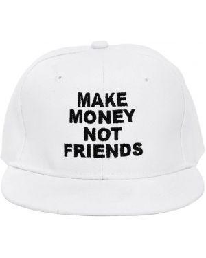 Biały kapelusz z haftem Make Money Not Friends