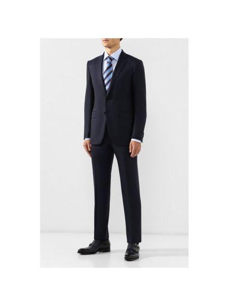 Однобортный темно-синий костюмный приталенный костюм деловой Ermenegildo Zegna