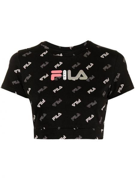 Хлопковая черная футболка с короткими рукавами Fila