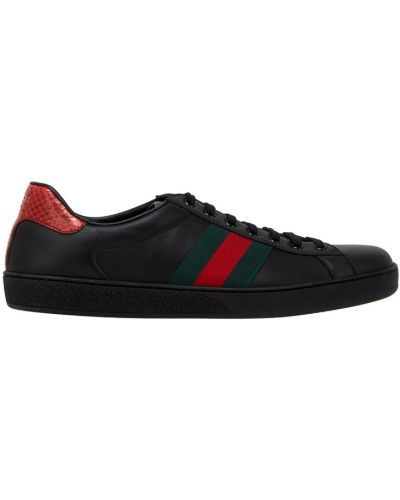 Кожаные кроссовки в полоску повседневные Gucci
