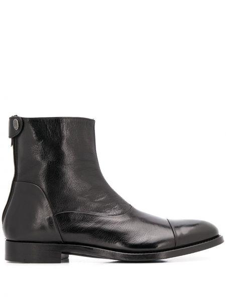 Кожаные черные кожаные ботинки на молнии на каблуке Alberto Fasciani