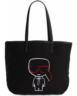 Кожаная сумка из канваса с ручками Karl Lagerfeld