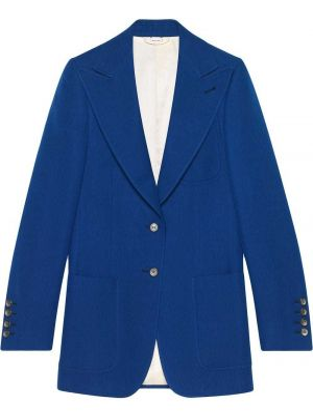 Шерстяной синий пиджак с карманами на пуговицах Gucci
