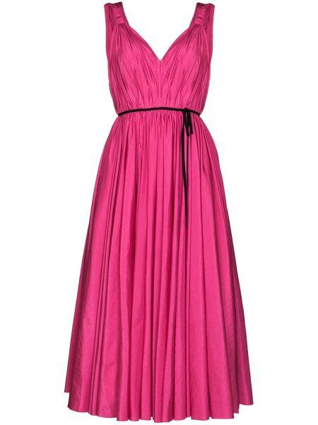 Шелковое розовое платье миди без рукавов Carolina Herrera
