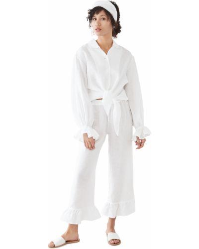 Biały garnitur z długimi rękawami rozkloszowany Sleeper