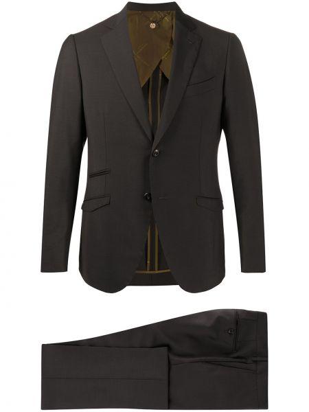 Шерстяной черный костюмный костюм классический с подкладкой Maurizio Miri