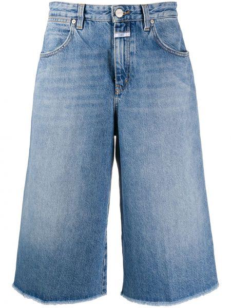 Синие хлопковые джинсовые шорты с карманами Closed