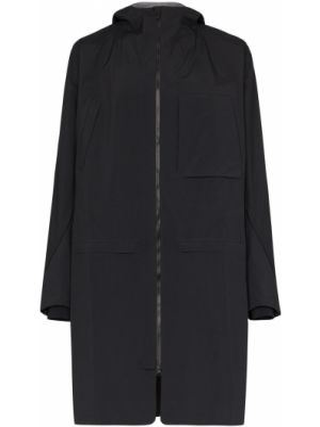Czarny płaszcz z kapturem z długimi rękawami Byborre