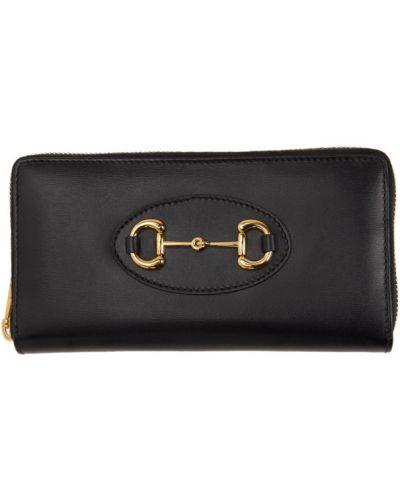 Skórzany czarny portfel z kieszeniami z gniazdem Gucci