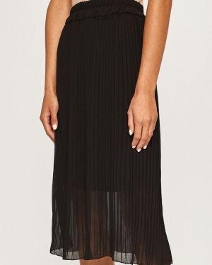 Черная расклешенная плиссированная юбка на резинке в рубчик Haily's