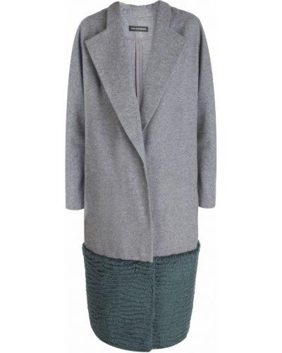 Серое шерстяное пальто с декоративной отделкой Vika Gazinskaya