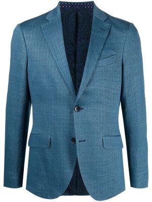 Шелковый синий удлиненный пиджак с карманами Etro