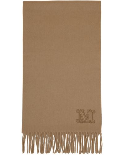 Шарф из верблюжьей шерсти прямоугольный с вышивкой Max Mara