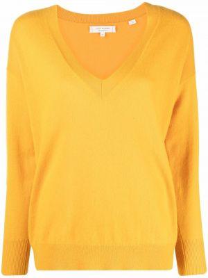 Желтый кашемировый длинный свитер с V-образным вырезом Chinti And Parker