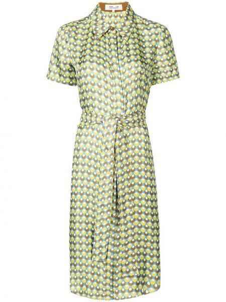 Прямое шелковое платье миди с воротником с короткими рукавами Dvf Diane Von Furstenberg