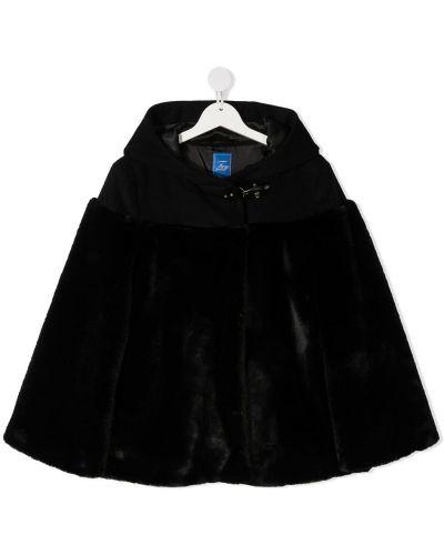 Шерстяная черная классическая искусственная шуба с капюшоном Fay Kids