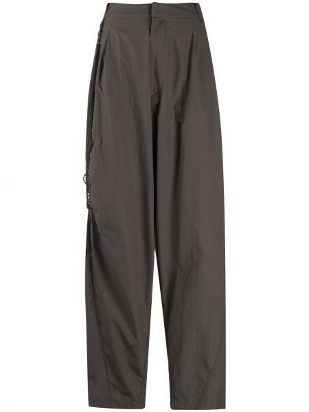 Серые нейлоновые свободные брюки с карманами свободного кроя Hyein Seo