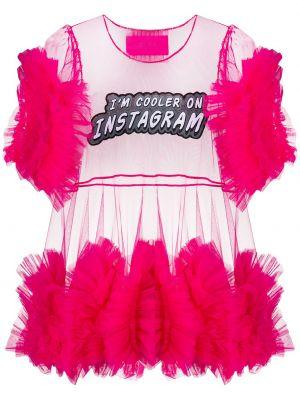 Нейлоновый розовый топ с баской с оборками Viktor & Rolf