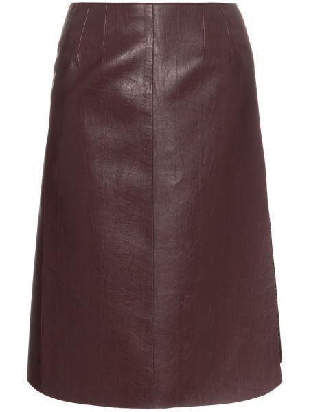 Кожаная юбка с запахом с завышенной талией We11done