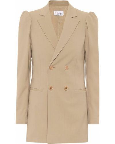 Бежевый шерстяной пиджак двубортный Redvalentino
