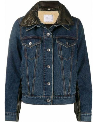 Хлопковая с рукавами синяя джинсовая куртка Sacai
