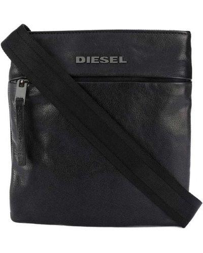 Черная сумка на плечо металлическая на молнии с карманами Diesel