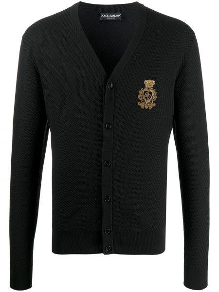 Черный кардиган на пуговицах с вышивкой Dolce & Gabbana